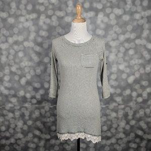 LOGO by Lori Goldstein Lace Trim Dress